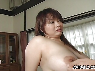Asian busty bitch gets her hairy distend filled up