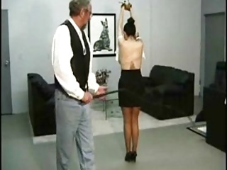 Asian female slave whipped off out of one's mind Master