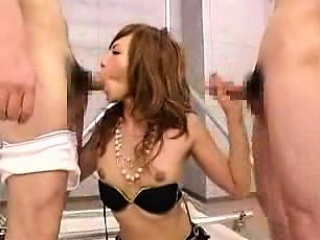 Sexy Asian tranny blows a gang be beneficial to cocks with an increment of takes a mouthfu