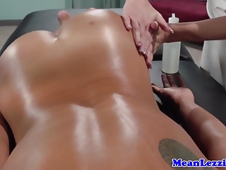 Lesbo knead threeway with respect to asian and ebony