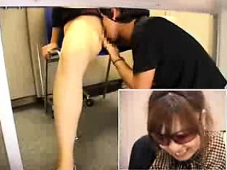 Slender Asian neonate with sexy legs has a guy devouring her h