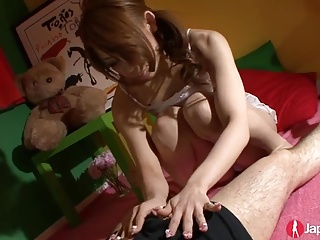 Cute Japanese Teen blowing sweet
