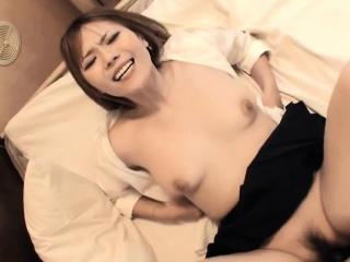 Japanese schoolgirl enjoys eating cum from big schlongs