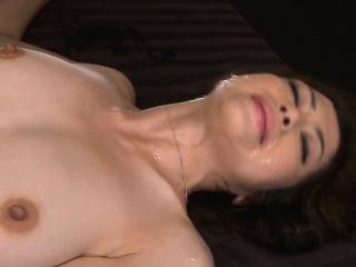 Horny asian wench surounds herself to 2 cock and squirts