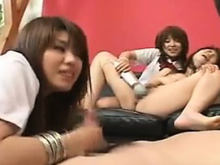 Asian schoolgirls toy their twats then restraint a lady's man they ca