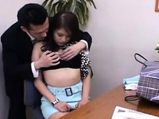 Hot Asian secretary gets felt up and her pussy licked by he