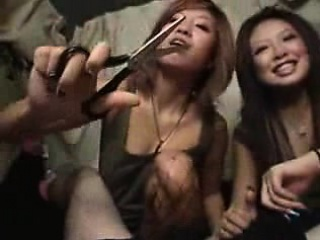 Dutiful mendicant has a group be proper of insatiable Asian girls sharin