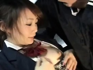 Beautiful Japanese schoolgirl feeds her lecherousness for hard physicality