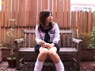 Lustful Japanese schoolgirl pleases will not hear of aching cunt every w