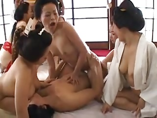 Japanese Bathrobe Babes Having Orgy