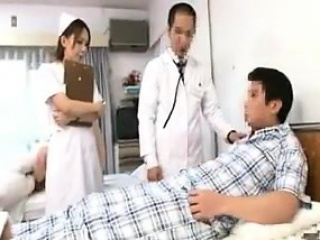 Provocative Japanese nurse in sickly pantyhose seduces a hor