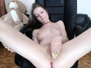 Cute girl squirting orgasm masturbating on chair