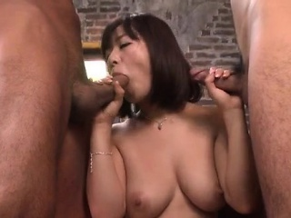 Wakaba Onoue goes here out of reach of two genteel dicks