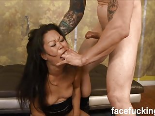 (new) First timer Asian MILF Jeanna throat fucked & foundation
