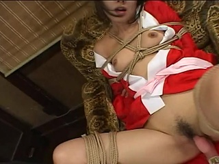 Bound and tied till she has her pussy lip around ram rod