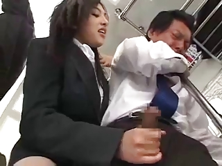 Sexy Japanese Girl makes him more Offload Cum unaffected by Subway Train