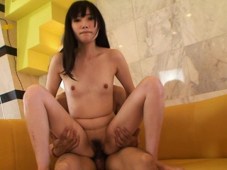 Small titty brunette Asian honey fucked by will not hear of emaciate lover