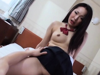 Lewd schoolgirl tempt large penis in her mouth, cum have a go