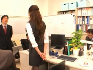 Shy tot enchants her lewd mature colleague in the matter of the office