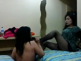 Asian fetish lesbians connected with uniform licking pussy