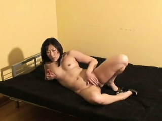 Asian wife wears only heels while toying say no to trimmed twat
