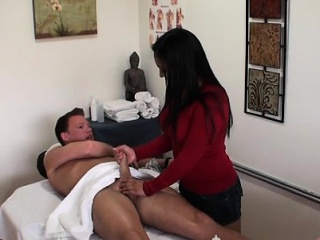 Oriental gal rubs a horny customer and gets fucked hard forged