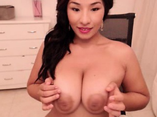 Bubble Boobs Brunette Bends Her Obese Ass Over Forth Masturbate