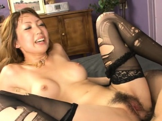 Oriental hottie mounts big cock and fucks depending on she squirts