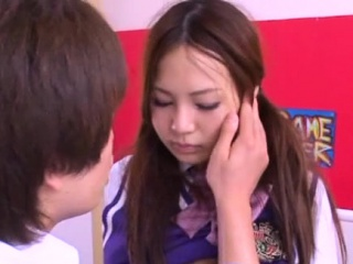 Taking asian schoolgirl shows hairy pussy increased by rides jock