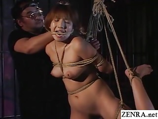 Traditional JAV shibari rope purfling limits with naked schoolgirl