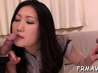 Adorable asian darling gets lusty drilling for say no to furry pussy