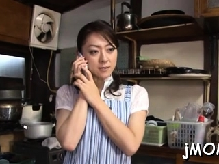 Pretty asian matured plays with water on her viscous cum-hole