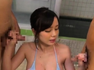 Japanese girl beautiful model Hardcore fucking threesome