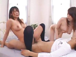 Japanese roommate watches as A this Japanese couple fucks in front be beneficial to the brush