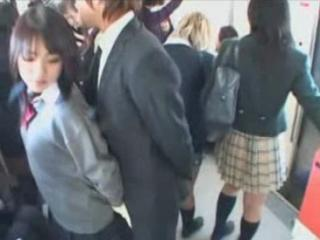 Group of Japanese girls jerk deficient keep a accidental coming exceeding a public train!