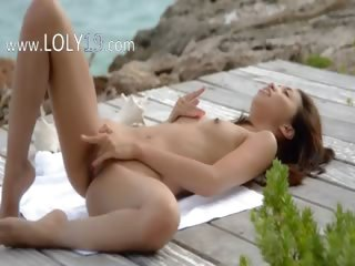 japanese angel teasing by the ocean