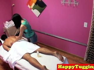 Asian masseuse gets flimsy pussy fucked