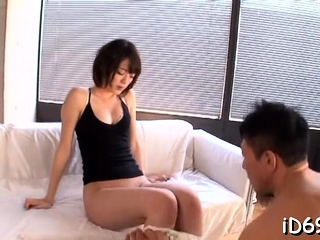 Nymph is sucking big suspicion of meat and gets it into cum-hole