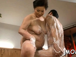 Large titted asian older gets screwed hard in doggy position