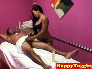 Asian masseuse dickriding and blowing consumer