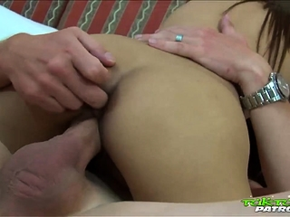 Vest-pocket-sized Thai babe with thick muddied labia gets fucked by white