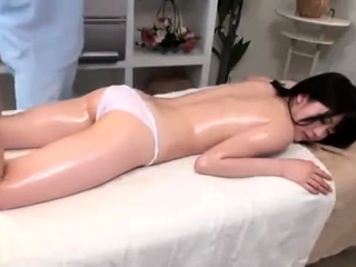 Japanese infant enjoys a hot oily massage with fingering