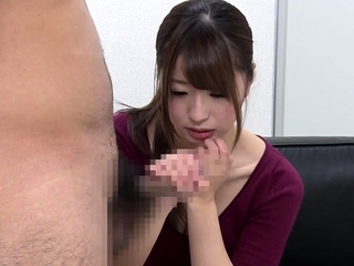 Greatest degree CFNM japanese blowjob with messy cumshot