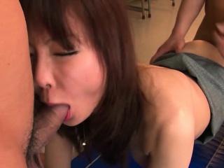 Beautiful Japanese babe is gangbanged in the vestibule