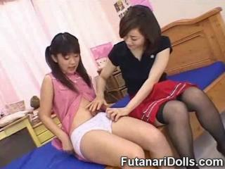 Several teen japanese futanari babysitters explore elbow 'round times other's androgynous cock!