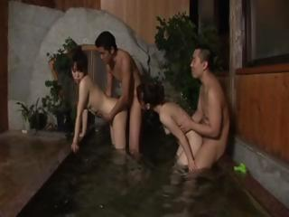 X Japanese MILFs get banged far the hot take a shower together then team a few masturbates