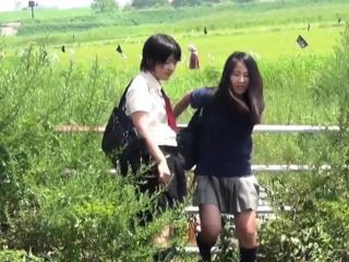 Puberty peeing in field