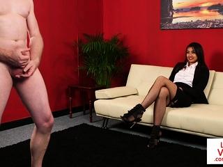 Stockinged CFNM voyeur enjoys sub jerking wanting