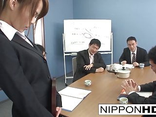 Sexy Asian office catholic blows her coworkers