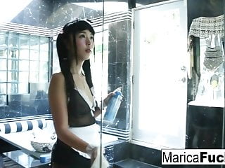 Japanese Gal gets saleable cleaning yon the go to the bathroom